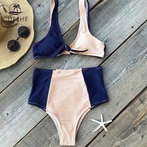 Cupshe High Waist Bikini Apricot & Navy